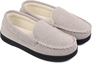 Women's Moccasin Slippers Anti-Slip House Shoes, Indoor Outdoor Rubber Sole Loafers