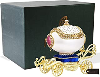 Matashi Faberge Egg Music Box | Elegant Table Top Ornament w/Brilliant Crystals | Home, Living Room, Bedroom Décor (Carriage, Swan Lake)