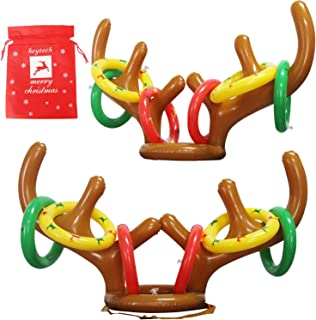 heytech Inflatable Reindeer, 2 Pack Inflatable Reindeer Antler Ring Toss Game for Christmas Party