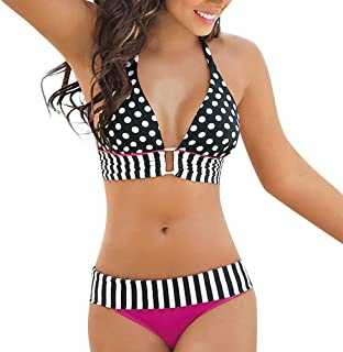 EOWEO Women Beachwear 2019 Swimwear Women Stripe Bikini Set Bandage Push-Up Swimsuit Bathing Beachwear