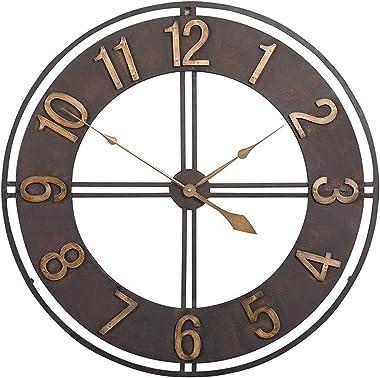 Horloge Murale De Jardin Extérieure, 23 Pouces Fer Forgé Rétro Grande Résistante Aux Intempéries Horloge De Jardin Face Ouver