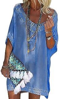 fbb82212d0 UMIPUBO Beach Cover ups V Neck Crochet Bikini Cover Up Beachwear Dress  Bathing Suit Swimsuit Covers