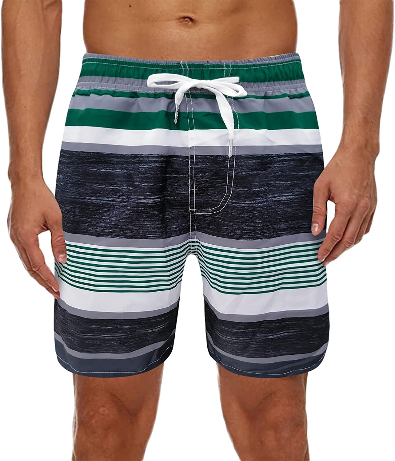 Huangse Men's Hawaiian Summer Striped Beach Shorts Swim Trunks Sports Running Bathing Suits with Mesh Lining with Pockets