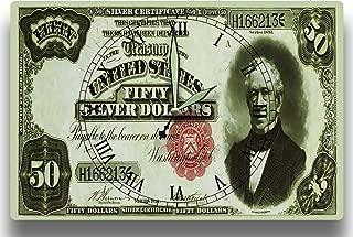 Edward Everett Customized Money Clock United States Currency Series 1891 50 Dollar Silver Certificate 8 x 12 inch Wall Clock Massachusetts Politician