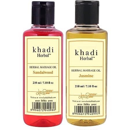 Ayurdaily Khadi Massage oil Combo - Sandalwood & Jasmine 210ml ( Pack of 2)