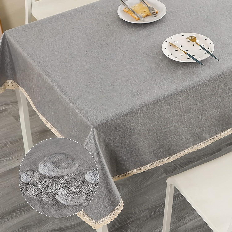 ENCOFT Mantel para Mesa Rectangular, Mantel de Mesa Impermeable y Antimanchas, Mantel para Comedor en Poliéster, para Cocina Mantel, Color Sólido Gris 140x180cm