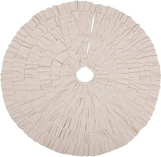 VHC Brands Shimmer Burlap Creme Ruffle 50 Tree Skirt, Diameter