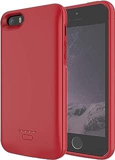 HiKiNS iPhone 5 / 5S / SE 対応 バッテリーケース 4000mAh ポータブル保護充電ケース容量 軽量 チャージャー 一体型 バッテリー内蔵ケース (4.0インチ) ケースサポートLightningヘッドフォン - 赤