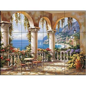 Paysage marin par Thomas Linker Cuisine cr/édence//Salle de bains douche Fresque murale en carrelage