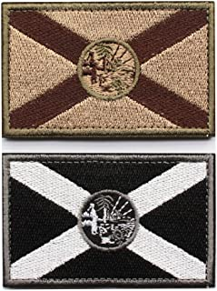 Bundle 2 Pieces - Tactical Florida State Flag Patch with Backing Multi-tan Black White Decorative Embroidered Appliques