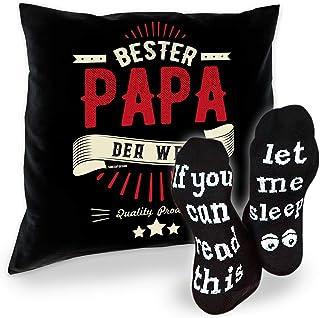 SO-GmbH Set de regalo para papá, cojín y calcetines decorativos para el mejor papá del mundo, regalo de cumpleaños, Navidad, Día del Padre, color negro