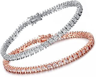 "OPALTOP 3mm CZ Tennis Bracelet Infinity Cubic Zirconia for Women Men 7.5""(White/Rose Gold Plated)"