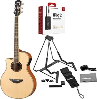 Yamaha APX700II-12 Thinline Cutaway 12-String Acoustic-Electric Guitar Natural Bundled with iRig 2 Guitar Interface, Guitar Stand, Clip-on Tuner, Guitar Strap, Guitar Picks, String Winder and Polishin