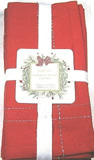 Ridgefield Home Set of 4 Christmas Red Napkins 100% Cotton 20