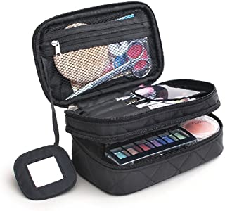 ONEGenug Cosmetic Makeup Bag & Organizer Double Layer Dot Pattern Travel Toiletry Bag Organizer With Mirror