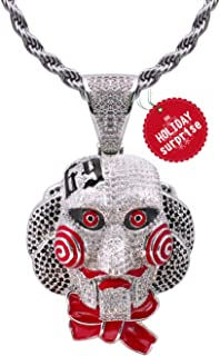 TSANLY 6ix9ine Chain Necklace Saw Inspired White Gold Plated with Tekashi69 Pendant Ice Out Hip Hop Medallion 24