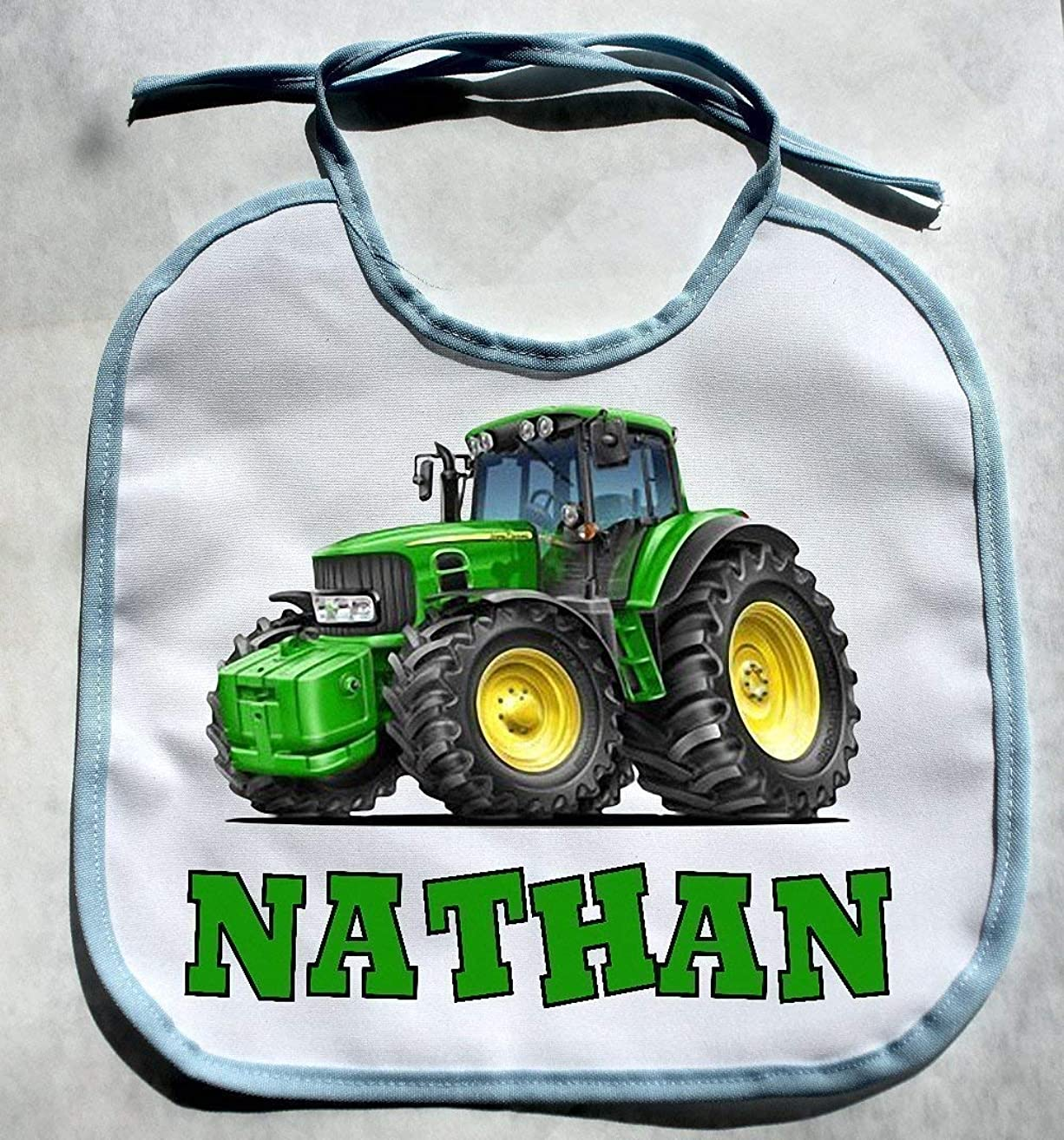 PERSONALIZED CUSTOM NAME Farm Tractor Baby Boy Bib Shower Gift Keepsake bibs