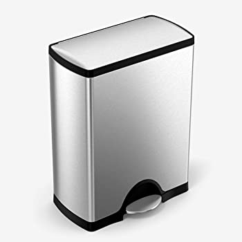 simplehuman 50 Liter / 13.2 Gallon Rectangular Kitchen Step Trash Can, Brushed Stainless Steel