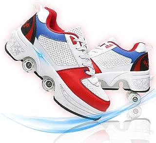 Hmlopx Osynlig deformering rullskridskor för kvinnor justerbara fyrhjuling skridskor stövlar 2-i-1 multifunktionella barns...