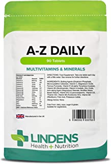 Lindens Multivitaminas A-Z Diario Pastillas Paquete 90 Perfecto Vitamina & Mineral Balance