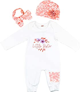 "Newborn""Little Sister"" Outfit Baby Girl Clothes Bodysuit Romper and Pink Hat"