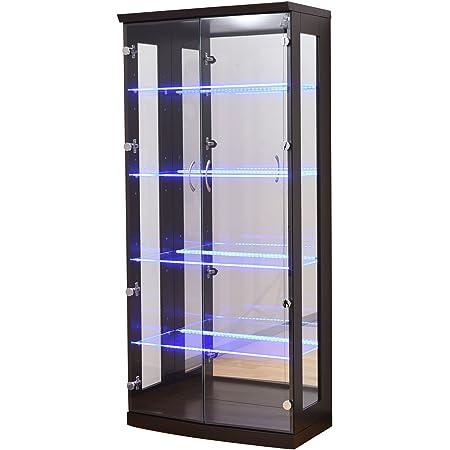 大川家具 アビライト コレクションボード ガラス棚板が光る ディスプレイコレクションボード 高さ155タイプ ブラウン KMS-0008