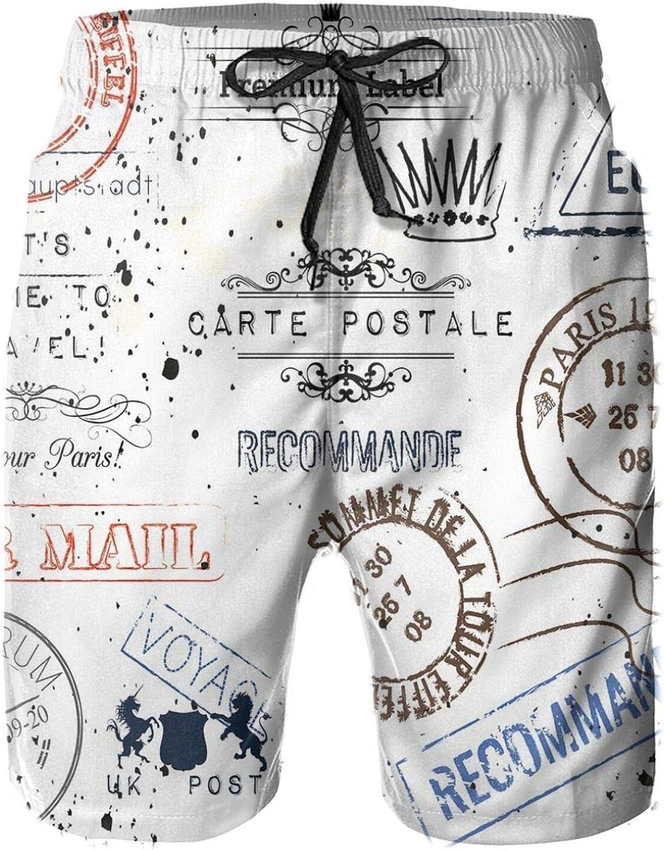 Retro Post Stamps Postage Mail Paris Antique Artistic Design Vocation Traveling Drawstring Waist Beach Shorts for Men Swim Trucks Board Shorts with Mesh Lining,XXL