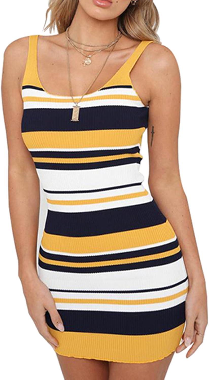AVINE Women's Scoop Neck Stripe Elastic Bodycon Slim Fit Sleeveless Mini Tank Dress