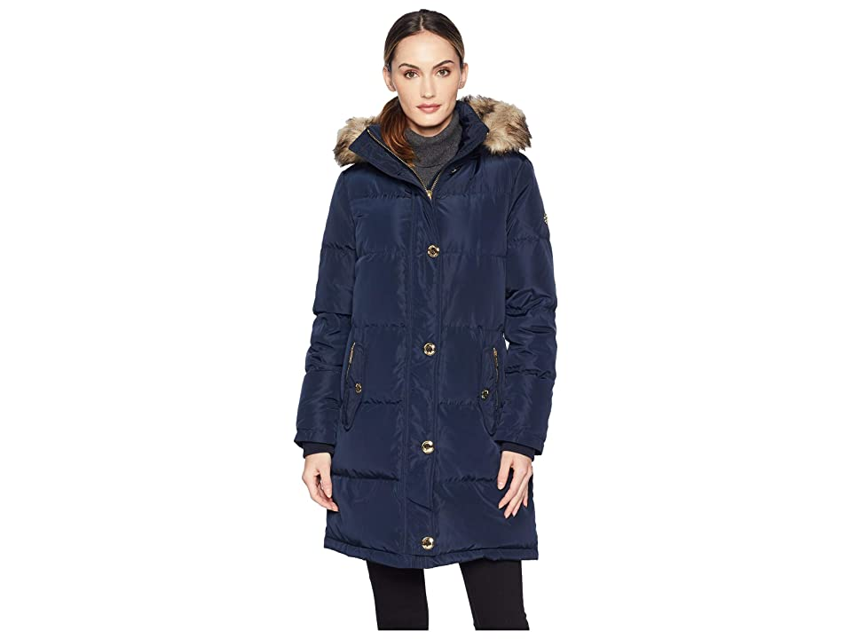 MICHAEL Michael Kors Button Front Down Coat with Faux Fur Trim Hood M823896G (Navy) Women