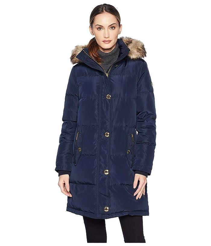 MICHAEL Michael Kors Button Front Down Coat with Faux Fur Trim Hood M823896G (Navy) Women