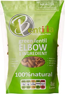 Now Plantricious Certified | Bentilia Organic Gluten-free Pasta | Green Lentil Elbow(12-Pack x 8oz). One Single Ingredient: No-GMO, Low Glucose & 100% Natural Red Green Lentils