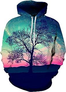 sanatty Unisex Realistic 3D Print Galaxy Pullover Hooded Sweatshirt Hoodies with Big Pockets (Small/Medium, Sky Tree)