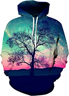 sanatty Unisex Realistic 3D Print Galaxy Pullover Hooded Sweatshirt Hoodies with Big Pockets (Large/X-Large, Sky Tree)