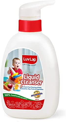 LuvLap Liquid Cleanser, Anti-Bacterial, Food Grade, For Baby Bottles, Accessories and Vegetables, 500ml