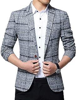 Men's Coat Slim Blazer Tweed Fit Blazer Suit Jacket Comfortable Sizes Checked Wedding Party Transitional Coat Men Fashion