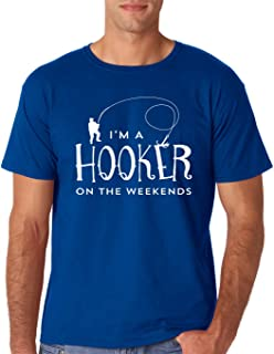 Hooker On The Weekend - Funny Fisherman Gifts - Fathers Day Men's Fishing T-Shirt