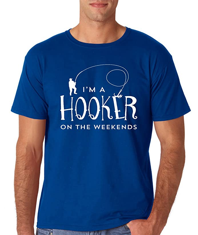 AW Fashions Hooker On The Weekend - Funny Fisherman Gifts - Fathers Day Men's Fishing T-Shirt