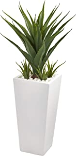 """Nearly Natural 40"""" Spiky Agave Artificial White Planter Silk Plants, Green"""