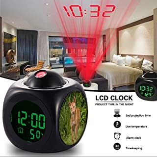Girlsight Alarm Clock Multi-function Digital LCD Voice Talking LED Projection Wake Up Bedroom with Data and Temperature Wall/Ceiling Projection-069.Dingo, Wild, Dog, Australia, Wolf, Canine, Predator