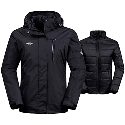 5418a2b035 Wantdo Women s 3-in-1 Waterproof Ski Jacket Interchange Windproof Puffer  Liner Warm Winter