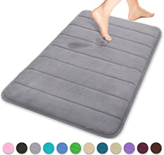 Yimobra Memory Foam Bath Mat Large Size 31.5 by 19.8 Inches, Soft and Comfortable, Super Water Absorption, Non-Slip, Thick, Machine Wash, Easier to Dry for Bathroom Floor Rug, Gray