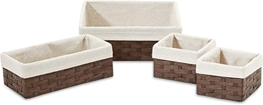 Americanflat Set of 4 Brown Woven Paper Storage Baskets with Removable Linen Liners - Durable Metal Frame - Nesting Basket...