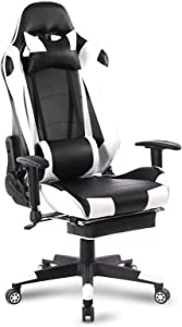WOLTU Sedia Gaming Sedie da Ufficio Girevole Ergonomica Poggiapiedi Retrattile Poltrona di PU