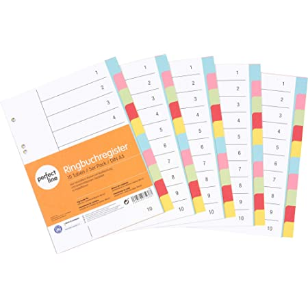 perfectline 5 pièces, 10intercalaires DIN-A5 couleur avec page de garde (5x10), 16,3 x 21,5 cm, séparateurs registre, 5coloris différents, organisation parfaite dans le bureau pour classeur