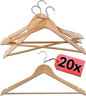STAR - LINE Lot de 20 cintres en bois naturel avec barre   Crochet rotatif à 360° avec barre pour pantalon   Cintres porte...