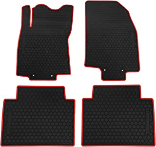 biosp Car Floor Mats for Nissan Rogue 2014-2019 Front And Rear 2 Row Seats Heavy Duty Rubber Liner Black Red Vehicle Carpet Custom Fit-All Weather Guard Odorless