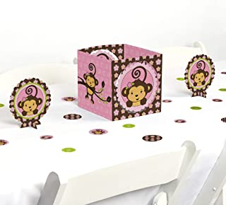 Big Dot of Happiness Pink Monkey Girl - Baby Shower or Birthday Party Centerpiece & Table Decoration Kit