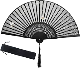 Bigmeda Éventail Pliant, Ventilateurs Pliantes Style Japonais avec Sakura et Papillon pour Cadeau de Fête Décoration Noir