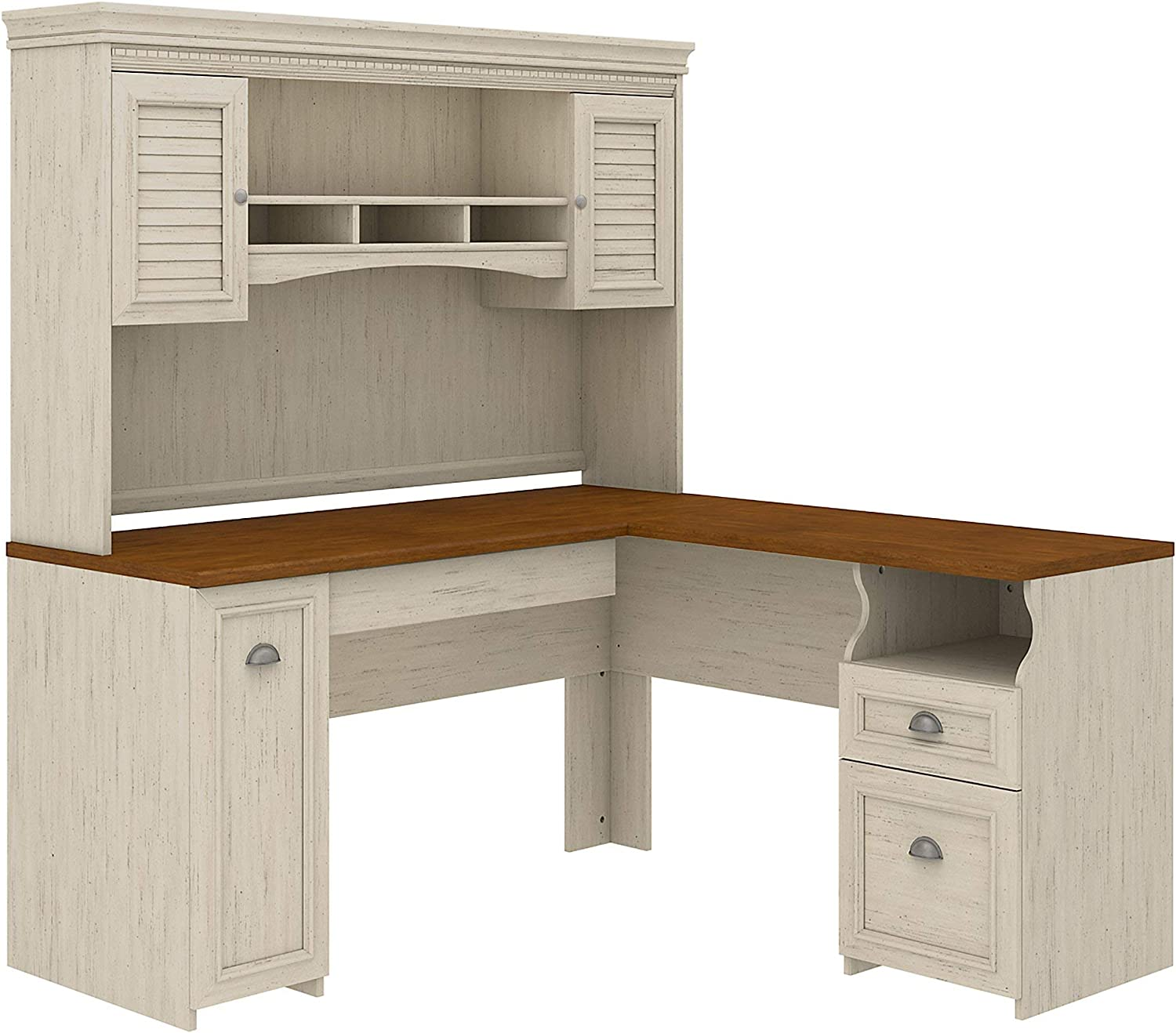Bush Furniture Fairview L Shaped Some reservation Desk Whit with Hutch in Antique Mail order