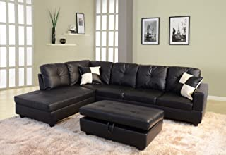 Beverly Fine Furniture Left Facing Russes Sectional Sofa Set With Ottoman, Black